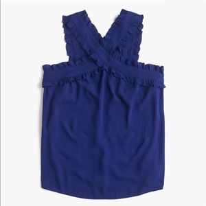 NWOT J. Crew blue cross front ruffle tank top